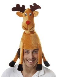 CHRISTMAS ADULT REINDEER RUDOLF RED NOSE HAT JOKE FANCY DRESS NOVELTY PARTY FUN